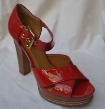 MICHAEL KORS AUTH $275 Women Red Patent Leather High Heel Sandals Size 8.5