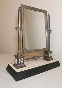 rare antique silver-plated Middle Eastern vanity dresser mirror agate paintings