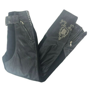 Harley Davidson Womens 34 6 Leather Riding Pants Buckle Lace Up Zip Cuff Moto