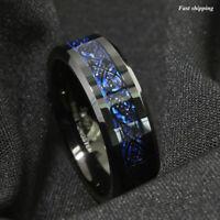 Tungsten Carbide Ring Black Celtic Dragon Blue carbon fibre Mens Jewelry 8/6mm