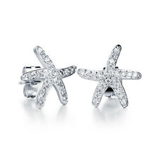 White Gold Plated Earring Starfish AAA Cubic Zirconia Women's G233