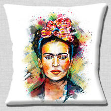 "Frida Kahlo Mexican Folklore Cushion Cover 16""x16"" 40cm Multicolour Art on White"