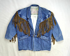 Vtg 90s Blue Denim & Leather Easy Rider Fringe JEANJER Jean Jacket Oversized M