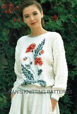 Lady's Poppy sweater knitting pattern in DK. Jumper, Pullover. Intarsia knitting