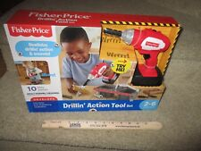 Fisher Price Drilling Action Tool Set sounds screw bit parts new in box Red move