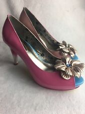 Poetic Licence London Womens Size 6.5 M Heels Pump Pink Leather Floral Excellent