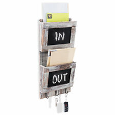 Rustic Wood Wall-Mounted Mail Sorter Organizer with Chalkboard &  Key Hook Rack