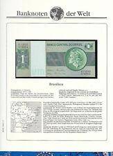 Banknotes of World Brazil 1980 1 Cruzeiro UNC P191Ac sign 20