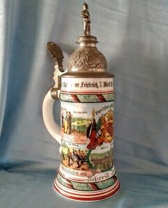 Antique Imperial Army Regimental Military Germany Beer Stein Lithophane 1904-06