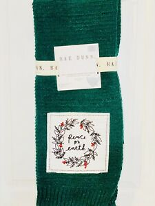 """NEW Rae Dunn Christmas """"Peace on Earth"""" KNITTED Green Throw Patch Blanket 50x60"""