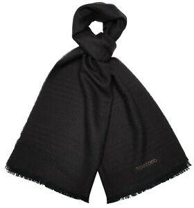 Tom Ford Scarf Wool Brown Houndstooth Plaid 14SF0107 $450