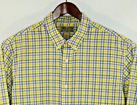 Duluth Trading Men's Blue Yellow Long Sleeve Button Down Plaid Check Shirt XL