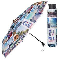 Perletti Bright Miami Beach City Manual Folding Umbrella Compact Brollie Gift