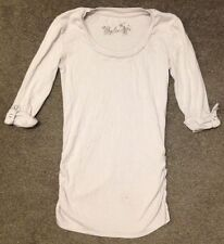 Grey Size 10 3/4 Length Sleeve Top Tshirt Long Round Neck Casual Plain Pale