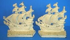 Vintage Cast Iron Bookends Set Elizabethan Galleon Ship Figural small flaw