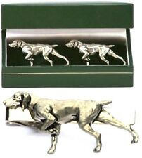 German Shorthairded Pointer Cufflinks & Tie Clip Bar Slide Mens Set GSP Gift
