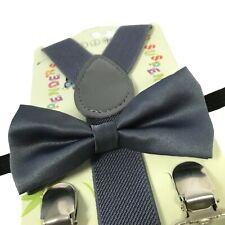 """""""DARK GREY"""" Matching Suspender & Bow-Tie Set Kids Toddler Baby Boys Girls"""