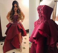 Stylish Burgundy Peplum Prom Dresses Split Side Party Pageant Evening Dresses