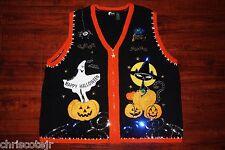 Ugly HALLOWEEN Sweater Zip VEST Ghost Pumpkin Black Cat Women's 2XL XXL
