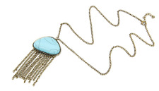 Torquoise gold Necklace - New chic torquoise blue tassel bronzy gold necklace