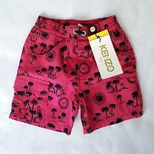 BNWT KENZO Paris Kids Boys Red Bermuda Venice Beach Palm Print Shorts Age 3 £70