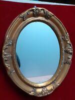 specchio ANTICO ovale classico CORNICE Legno ORO  44x53 Quadro ORO Anticato