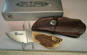 "Boker Arbolito 02BA530HH 2"" Fixed Blade w/Leather Sheath NEW IN BOX STAG HANDLE"