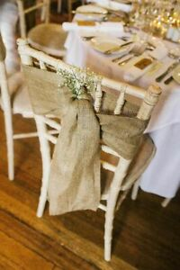 50x Hessian Chair Sashes Covers Bows Jute Burlap Vintage Rustic Wedding Decor