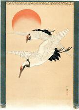 CRANES 1886 Mori Ippo - Japan - Birds VICTORIAN PRINT