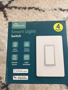 Smart Light Switch, Treatlife 1Way Smart Switch 4 Pack, Smart Home Light Works