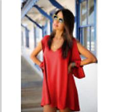 Women's Sexy Red Long Sleeve BOHO Chiffon Blouse,T-shirt,Summer Beach Top -10/12
