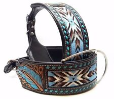 "26"" BEADED TURQUOISE BLACK MADCOW BUCK STITCHED BULLY STYLE LEATHER DOG COLLAR"