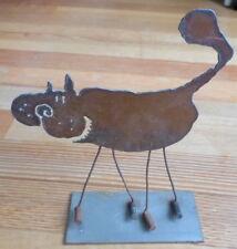 Vintage Metal Cat Sculpture Mill Scale 1996 Metal Steel Industrial Rustic Rust