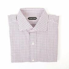 Tom Ford NWT Pink Green White Plaid Spread Collar Slim Cotton Dress Shirt 17 43
