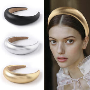Women Leather Sponge Headband Fashion Solid Color Thickened Wide Edge Hair Hoop