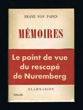 MEMOIRES  Franz Von Papen  1953  Ed. FLAMMARION