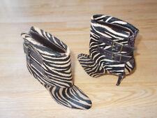 $1365 Manolo Blahnik Ankle Boots Zebra Hair Calf Buckle Narrow sz 37 US 6.5 NEW