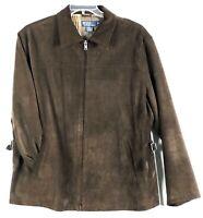 VTG Polo Ralph Lauren Mens L Suede Leather Jacket Brown Plaid Cotton Lining VGUC