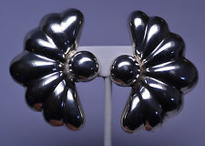 VINTAGE MEXICAN STERLING SILVER HUGE HALF FLOWER CLIP EARRINGS SIGNED TWO TREES