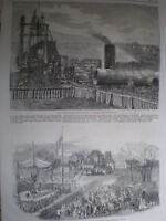 Boiler explosion Airdrie pit & a National School Long Melford 1860 old prints