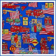 BonEful Fabric Cotton Quilt VTG Blue Red FIRE Truck USA HERO American Flag SCRAP