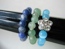 Avon Set of 3 Bead Stretch RINGS Shades of Blue Sz 6.5 -9.5 Hard Plastic Pretty