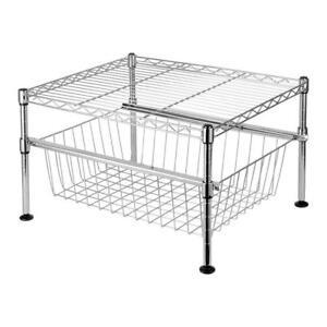2-Tier Wire Utility Shelving Rack, Free Standing Adjustable Shelf Rack Unit