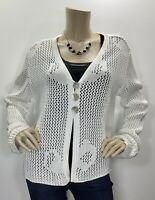 Willow Anthropologie Large White Three Button Open Knit Cardigan Sweater