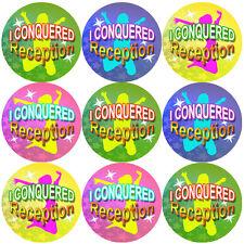 144 I Conquered Reception - End of Term KS-1  Teacher Reward Stickers Size 30mm