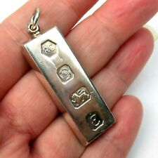 925 Sterling Silver Ingot Pendant For Necklace Sheffield 1979 30g