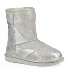 UGG Classic Metallic Patchwork Short Boot Girl New Silver Shoes size 8