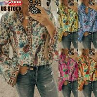 Women's Flare Sleeve Boho Blouse Holiday Floral Casual Loose V Neck T Shirt Tops