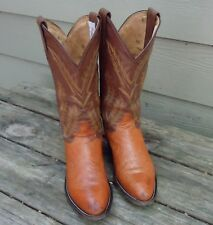 MENS TONY LAMA PEANUT BRITTLE SMOOTH OSTRICH COWBOY BOOTS SIZE 8 D