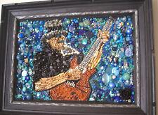 Celeb Portrait Carlos Santana Handmade original Art Mosaic recycled Rock N Roll